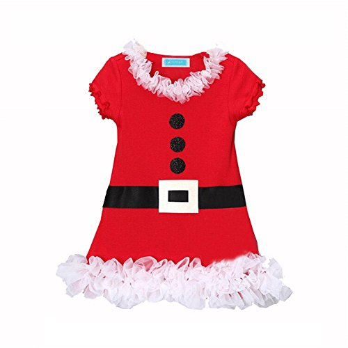 ANDI ROSE Little Girls Christmas Santa Claus Costume Lace Ruffles Skirt Dress