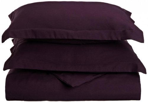 Clara Clark 1800 Series 3-pc Luxury Silky Soft Duvet Cover set - Includes 2 Pillow Shams - King Size Eggplant