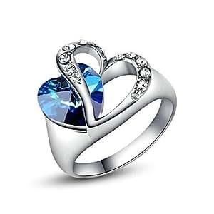... utilisation Blue Crystal anneau de mariage de coeur: Amazon.fr: Bijoux