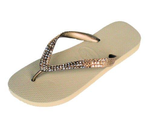 Image of METALLIC GOLD Swarovski Crystal Havaianas Flip Flops Sandals Thongs sizes 5-10 (B003TUBPBG)