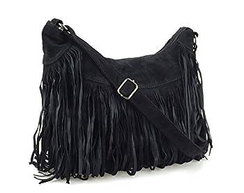 Hoxis Topfashion Tassel Faux Suede Leather Hobo Cross Body Shoulder Bag Womens Skatchel