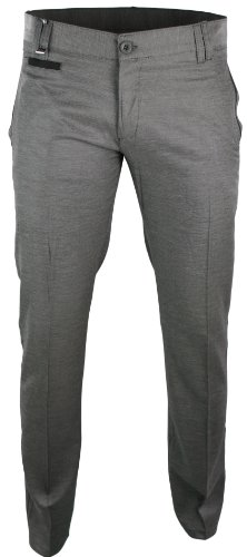 Mens Italian Style Slim Fit Trousers Light Grey Black Design Smart
