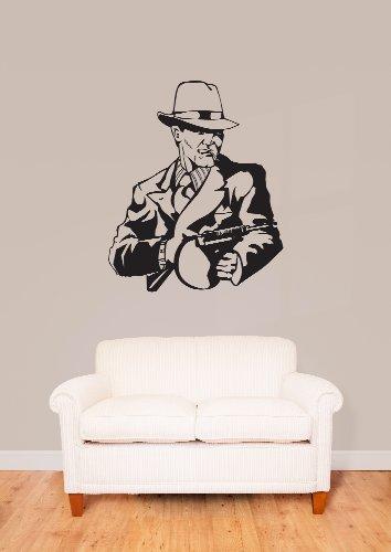 Wall Vinyl Sticker Gangster Man With Tommy Gun Z1022 M front-1060875