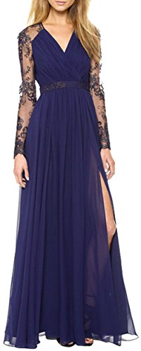 EUDORA Women's Sheer lace Long Sleeve Fitted & Flared Draping Prom Full Dress