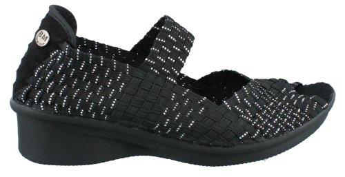 Bernie Mev Women'S Bernie Mev, Comfi Yael Slip On Wedge Shoe Black Silver 39 M front-926138