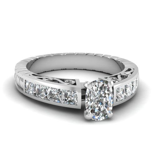 Fascinating Diamonds Vintage Channel Set Engagement Ring 1.60 Ct Cushion & Princess Cut Si2-E Diamond Gia