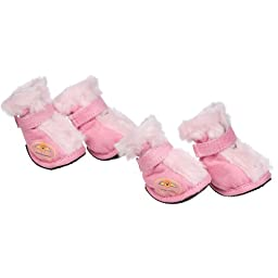 Fashion Plush Premium Fur-Comfort Suede Supportive Pet Shoes, X-Small, Pink
