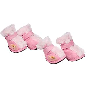Pet Life Ultra Fur Comfort Year-Round Protective Boots in Pink