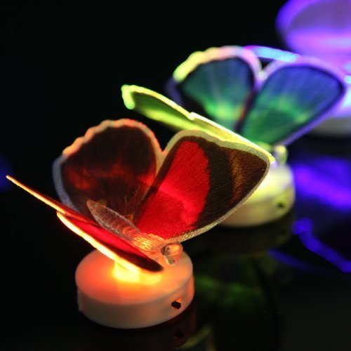 Dashuhuwai Led Fiber 7-Color Flashing Butterfly Night Light Lamp Wedding Party Home Decor Easter, Christmas, New Year'S , Valentine'S Day / Flashing Multi-Color Changing Fiber Optic Led Butterfly Home Bar Party Light Decor Gift (10Pcs)