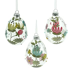 Easter Decorations Set Of Three Glass Easter Eggs Kitchen Home