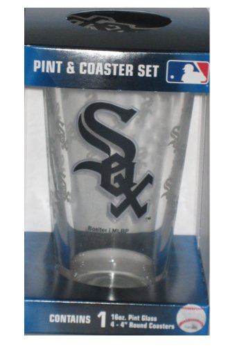 Chicago White Sox MLB 16oz Logo Pint Glass & 4 Piece Coaster Set at Amazon.com