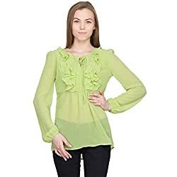 Orous Women's Bow Front Shirt (Valley004_Green_Small)