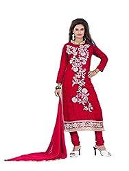 Nilkanth Enterprise Red Cotton Dress Material