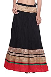 Cotton black skirt with gota and red border