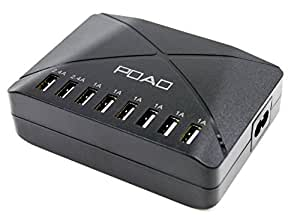 POAO USB Power Port 8 USB Charger for Apple iPhone 6 / 6 Plus, iPad Air 2 / mini 3, Samsung Galaxy S6 / S6 Edge and More- Retail Packaging-(Black)