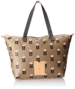 Orla Kiely Buttercup Stem Printed Nylon Zip Shopper Shoulder Bag,Sand,One Size
