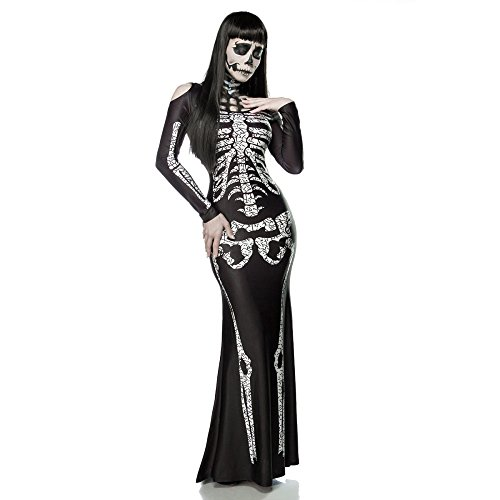 ZNFQC Women's Skeleton Ghost Bride Halloween Costume Party Dress Jumpsuit (M, Black)