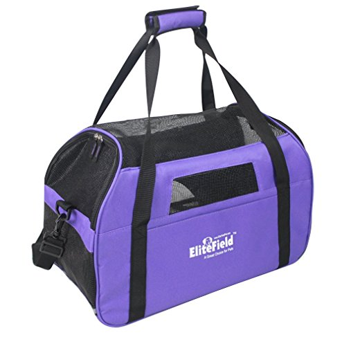 EliteField Soft Sided Pet Carrier (3 Year Warranty, Airline Approved), Multiple Sizes and Colors Available (Large: 19″L x 10″W x 13″H, Purple)