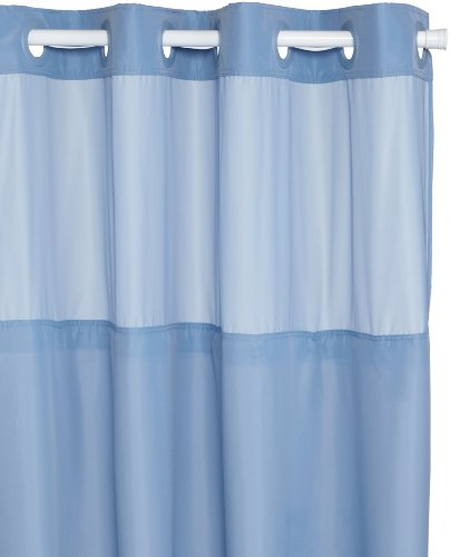 Shower Curtain Hookless Fabric W Peva Liner Blue W Window 877003003013