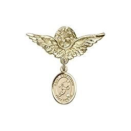 14kt Gold Filled Baby Badge with St. Sebastian/Soccer Charm and Angel w/Wings Badge Pin