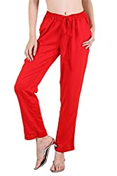 Ayaany Red Side Pocket Rayon Trousers