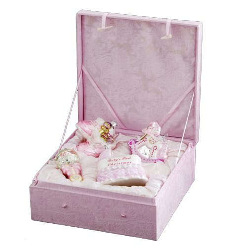 kurt-adler-nb0017g-noble-gems-glass-baby-girl-ornament-4-piece-set