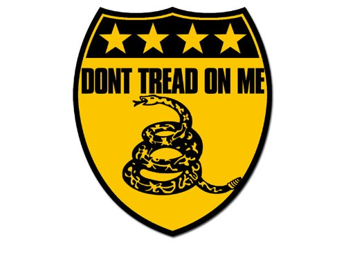 Shield Shaped Yellow Don'T Tread On Me Sticker (Gadsden Tea Party)