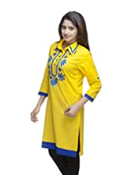 Avishi Women's Designer Hand Embroidered Aari Work Cotton Cambric Yellow Kurti (Avi99)