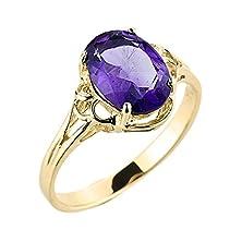 buy Solid 10K Yellow Gold February Birthstone Genuine Amethyst Gemstone Ring (Size 9)