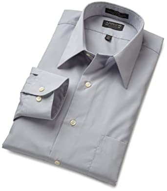 Arrow mens poplin dress shirt seal 18 32 33 at amazon for Wrinkle free dress shirts amazon