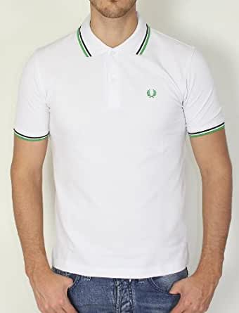 Polos Fred Perry pour Mode homme, Modèle M1200 Blanc /Green Polo fred perry manches courtes withe black/green