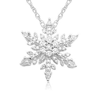 "10k White Gold Diamond Snowflake Pendant (1/10 cttw, I-J Color, I3 Clarity), 18"""