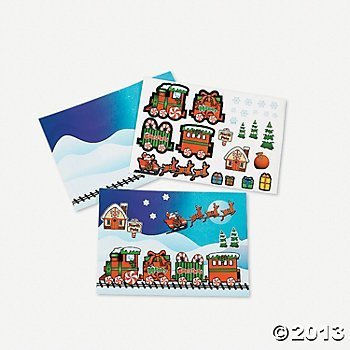 12 Make a SANTA CLAUS Train Sticker Sheets Express/Classroom Activity/PARTY FAVORS/Holiday GIVEAWAY/POLAR