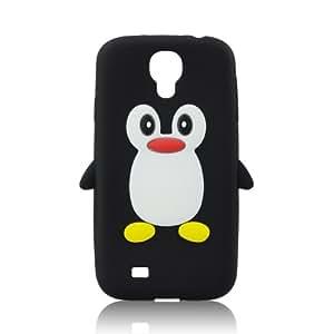 Silikon Silicon Case 3D Pinguin schwarz für Samsung Galaxy S4 i9500 Handy Tasche Schale Cover Schutz Hülle Bumper Back Case