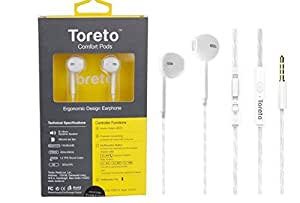 Toreto Comfort Pods Ergonomic Design Earphone with mic for iBall Andi 4F Waves