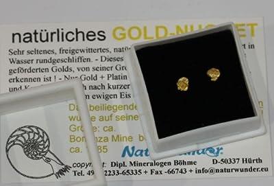 Natürliche Gold - Nugget - Ohrstecker im Paar = 2 ! ca. 5-4 mm Nuggets ! in Schmuckdose, Oregon, USA