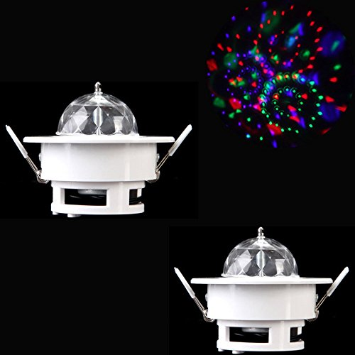 Superstar™ 2Pcs 3W Rgb Ceiling Stage Light Full Color Led Voice-Activated Rotating Ceiling Lamps Spot Dj Disco Crystal Bulb Lamp