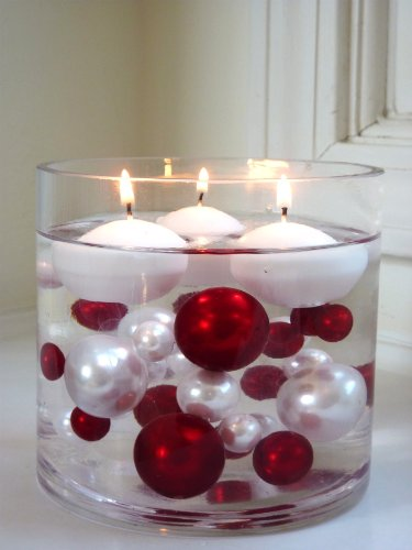 Unique Elegant Vase Fillers - Oversized Red Pearl Beads and White Pearl Beads - 1 Pack - Wholesale Decorative Vase Filler Gems