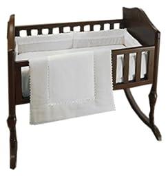 Baby Doll Bedding Bedding Ric Rac Cradle Set, White