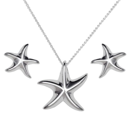 Ladies' Starfish Necklace and Earrings Set, Silver,