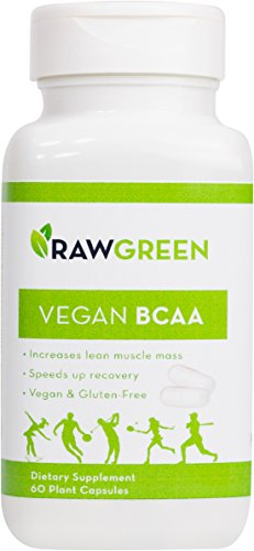Raw Green Organics - Vegan BCAA - Branch Chain Amino Acids Increase Lean Muscle Mass - 60 Plant Capsules (Organic Bcaa compare prices)