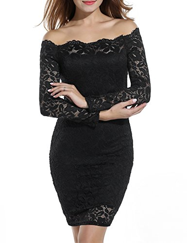 ACEVOG Women's Off Shoulder Lace Dress Long Sleeve Bodycon Casual Dresses (X-Large, Black)