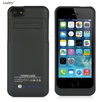Leadtry® 2200mah Universal Slim Case Battery Rechargeable Portable Outdoor Moving Battery Slim Light External Battery Backup Case Charger Battery Case Cover for Iphone 5 5s 5c with 4 LED Lights and Built-in Pop-out Kickstand Holder Support IOS 6 IOS 7 IOS 8 Short Circuit Protection (black) (Iphone Battery Case 5 compare prices)