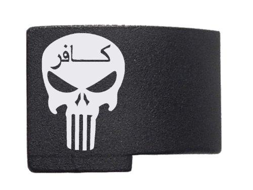 """Punisher Skull Infidel Engraved Xt .120"""" Extended Magazine Release Gmr For Glock Gen 4 17 19 22 23 26 27 34 35 By Ndz Performance"""