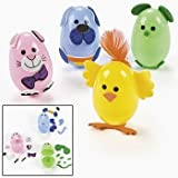 """Animal Easter Egg Decorating Craft Kit ~ Makes 12 Eggs ~ Self-adhesive Foam Stickers ~ Includes 2.5"""" Plastic Eggs ~ New"""