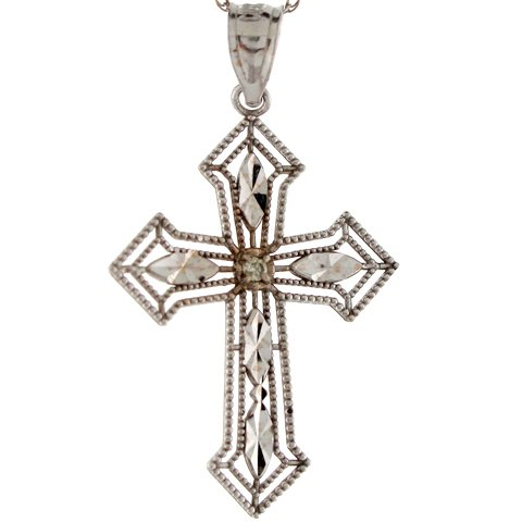 10k White Gold Three Tipped Beautiful Outline Diamond Cross Pendant