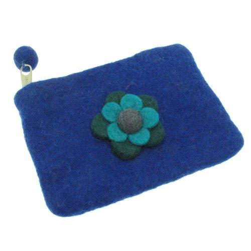 Felt Daisy Flower Purse 150 x 100mm - Blue