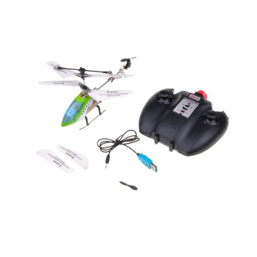 Green RC Remote Control 3.5-Channel Alloy Bulit-in Gyro Mini Helicopter