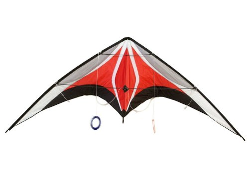 Lenkdrachen, Kite 210 x 90 cm 2-Leiner rot/grau/schw. Drachen