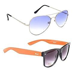 Elligator Stylish Aviator Silver Blue And Orange Wayfarer Sunglasses Combo ( Set of 2 )